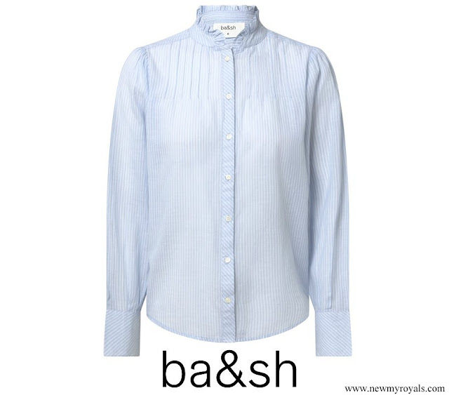 Crown Princess Mary wore ba&sh Blue Ruffle Mock Neck Striped blouse