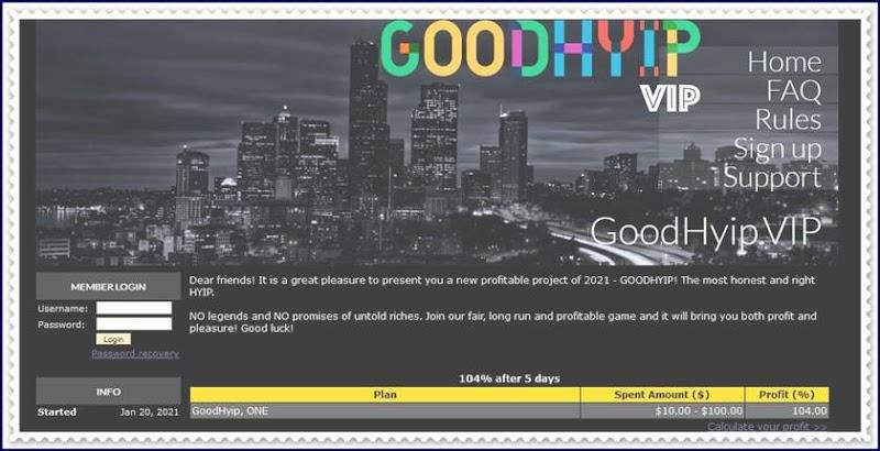 Мошеннический сайт goodhyip.vip – Отзывы, развод, платит или лохотрон? Мошенники