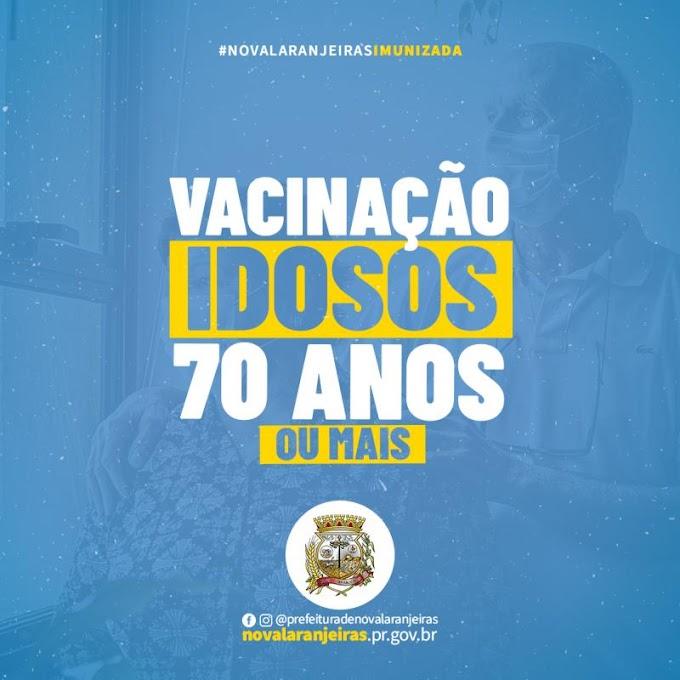 Nova Laranjeiras: Prefeitura informa sobre vacinação contra Covid-19 para pessoas com idade a partir de 70 anos