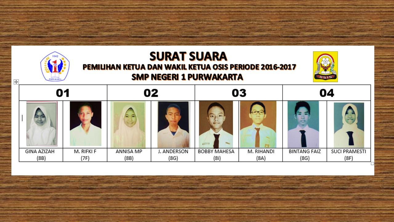 Surat Suara Pemilihan Ketua Dan Wakil Ketua Osis 2016 2017