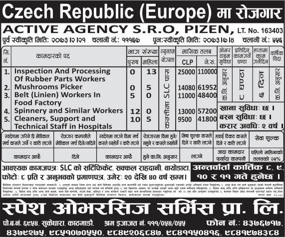 Jobs For Nepali In CZECH REPUBLIC, EUROPE Salary -Rs.1,10,000/