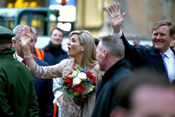 King Willem-Alexander and Queen Maxima of the Netherlands walk across the Marienplatz in Munich, Germany