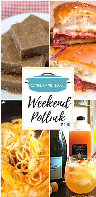 Weekend Potluck featured recipes include Quick and Easy Homemade Fudge, Baked Italian Sliders, Ultimate Crock Pot Chicken Spaghetti, Easy Apple CIder Cocktail Spritzer, and so much more.