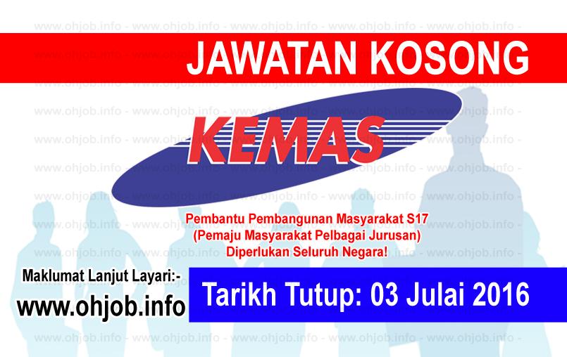 Jawatan Kerja Kosong Jabatan Kemajuan Masyarakat (KEMAS) logo www.ohjob.info julai 2016