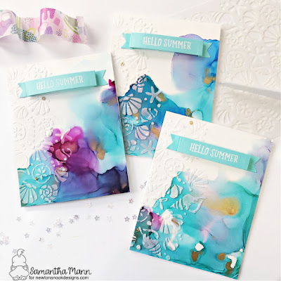Hello Summer Trio of Teacher Cards by Samantha Mann for Newton's Nook Designs, Thank You cards, Teacher Appreciation, Alcohol Inks, Die Cuts, Stencil, Seashells, #cards #cardmaking #papercrafting #papercrafts #teacherappreciation #thankyoucards