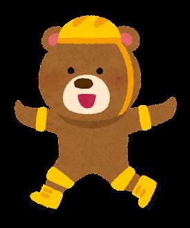 ローラースケートに乗る動物のキャラクター(クマ)