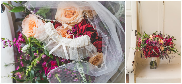 close up photo of wedding bouquet, garter, and veil