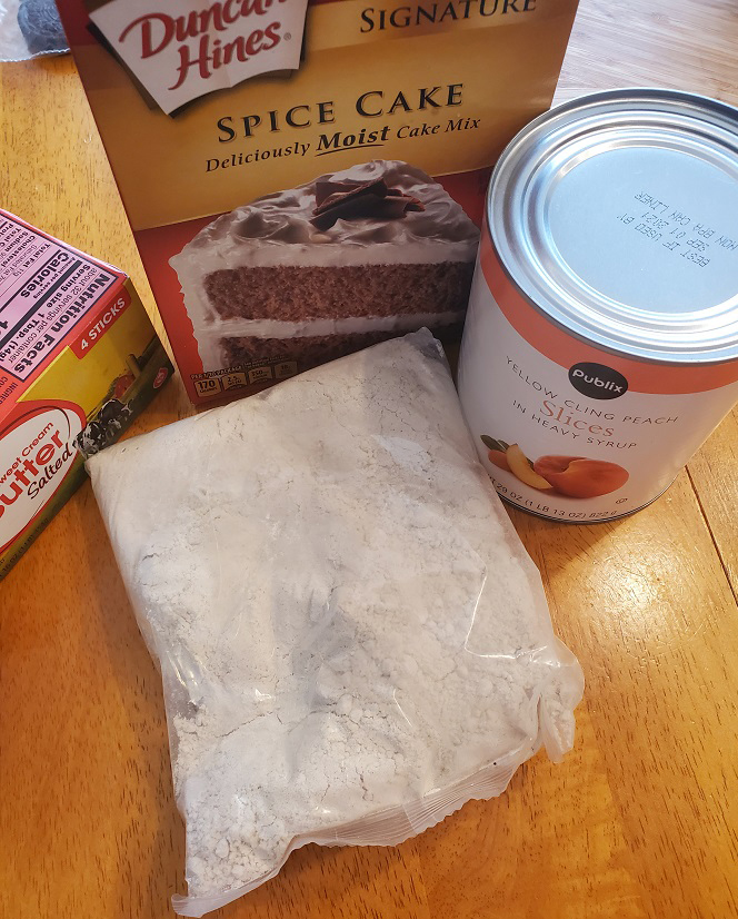 these are the ingredients to make peach cobbler dump cake