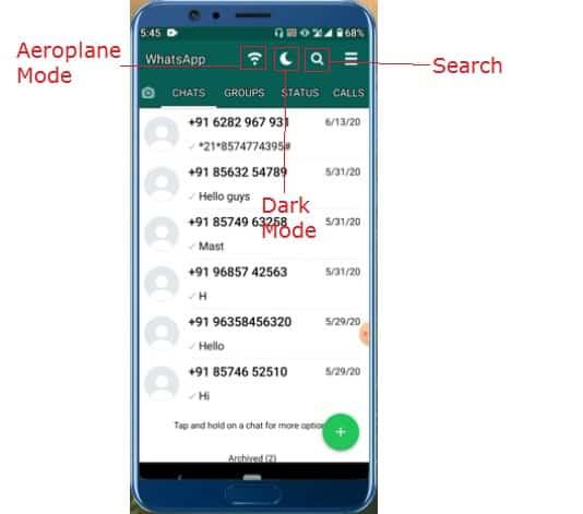 Whatsapp dark mode aero