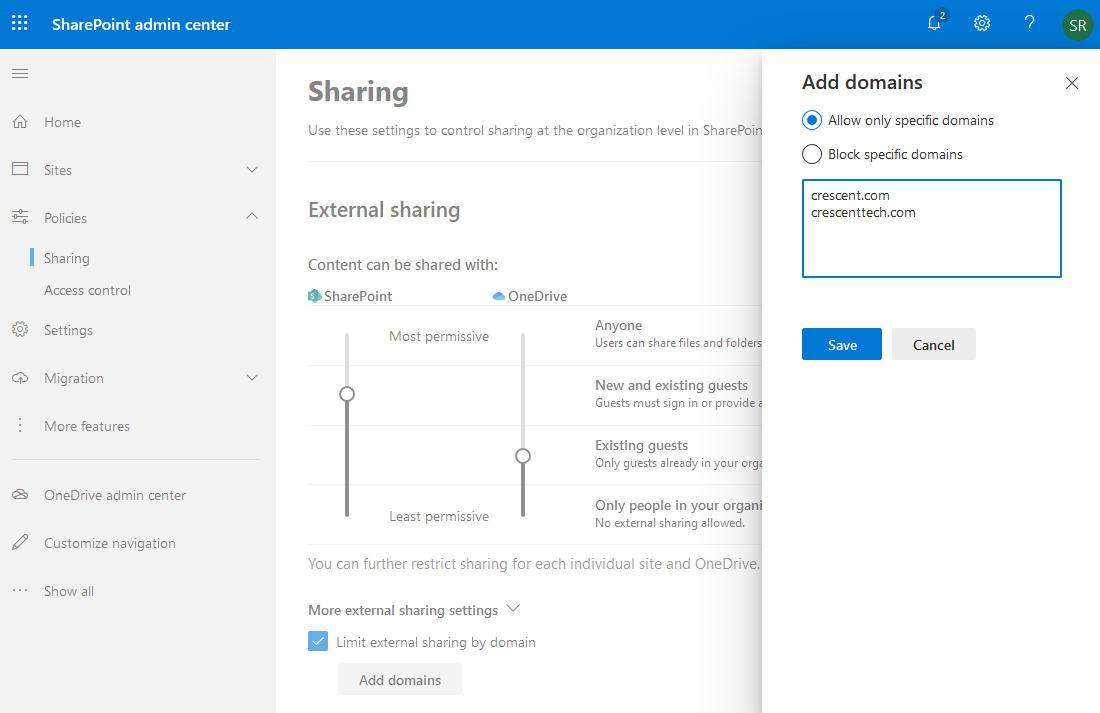 sharepoint online external sharing by domain