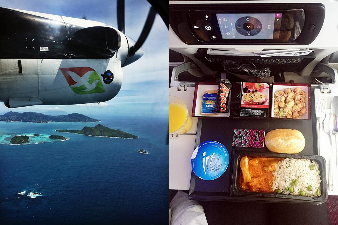 Links Flug mit Ait Seychelles nach Praslin, rechts Dinner an Bord der Qatar Airways