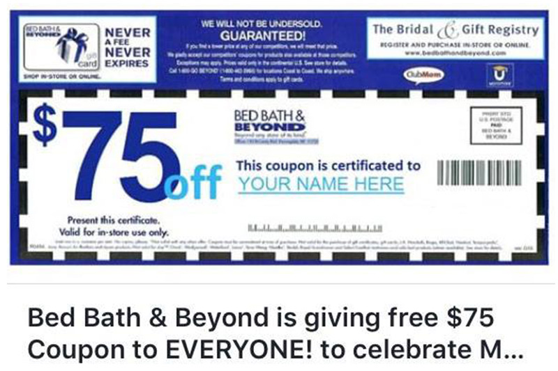 Bed Bath and Beyond Fake $75 Coupon