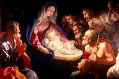 Pintura del Nacimiento de Jesús con mucha gente alrededor
