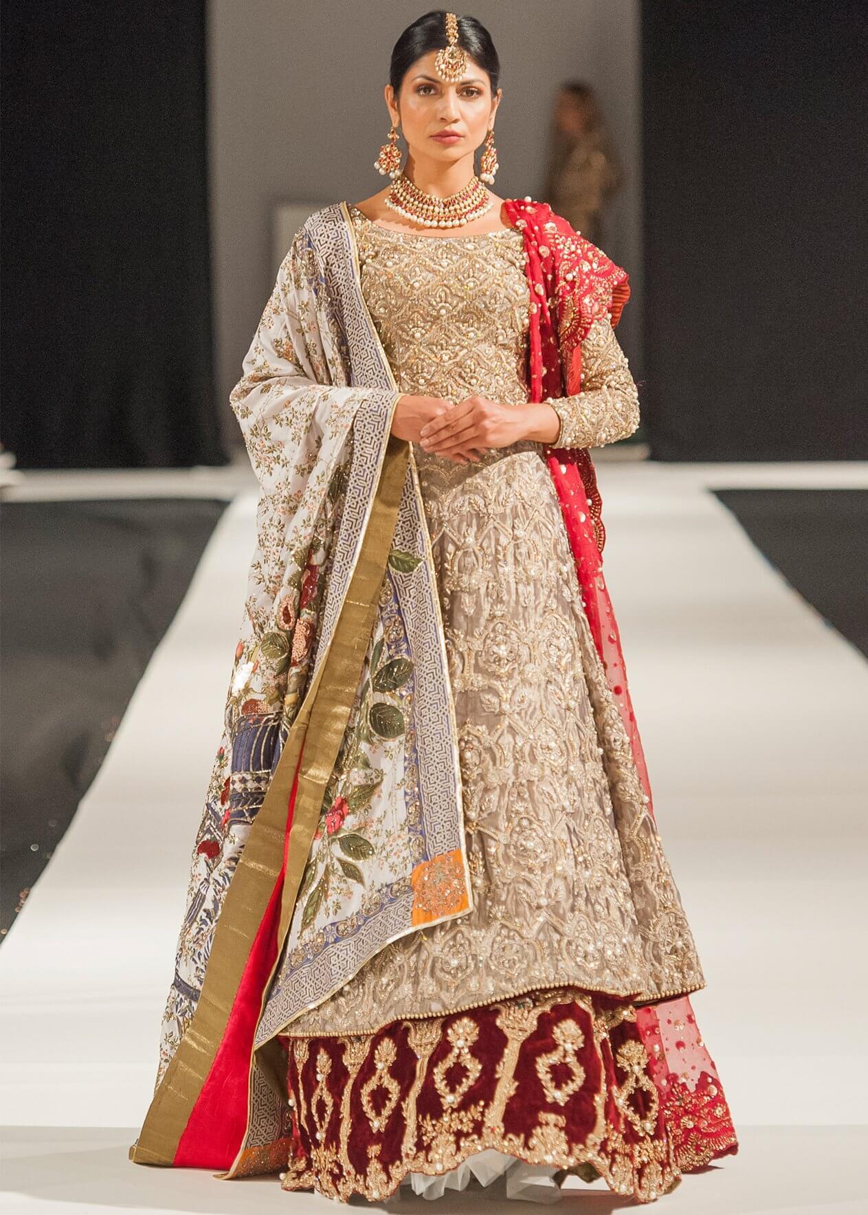 Heavy Embroidery Pakistani Bridal Dress for Barat Ceremony by Mohsin Ranjha