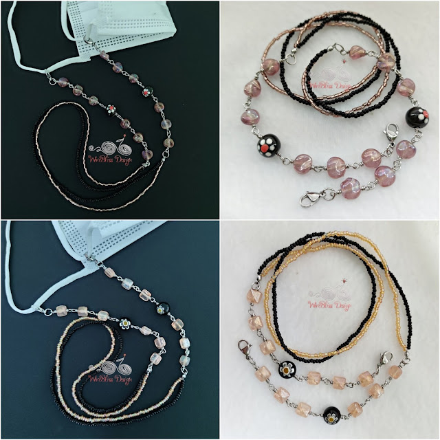 Fire Polished Glass Beads with Seed Beads Face Mask chain