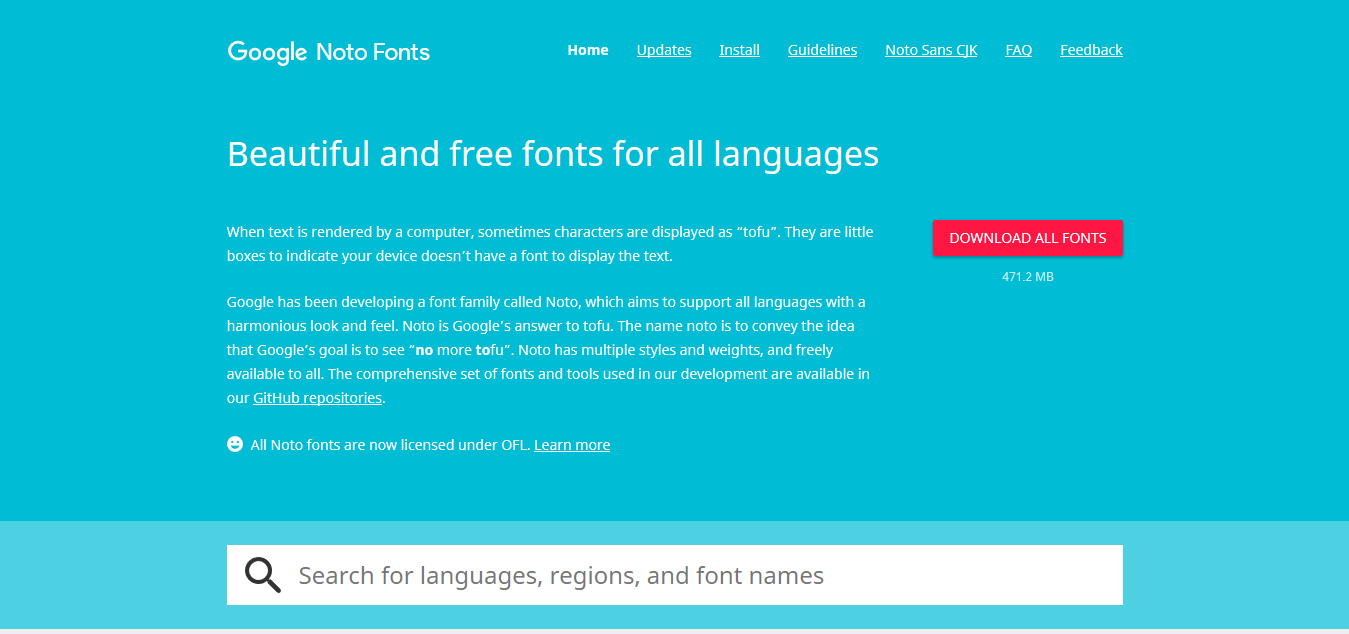 Beautiful and free fonts for all languages