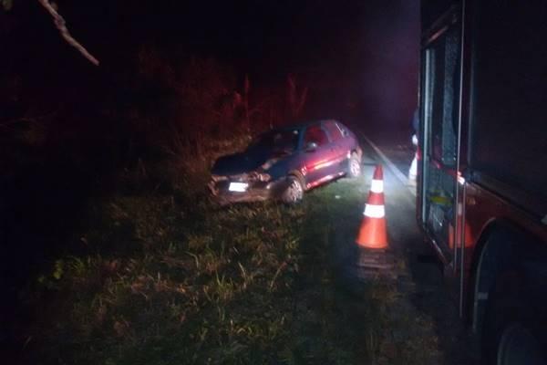 Acidente carro e moto na BR-280 em Canoinhas