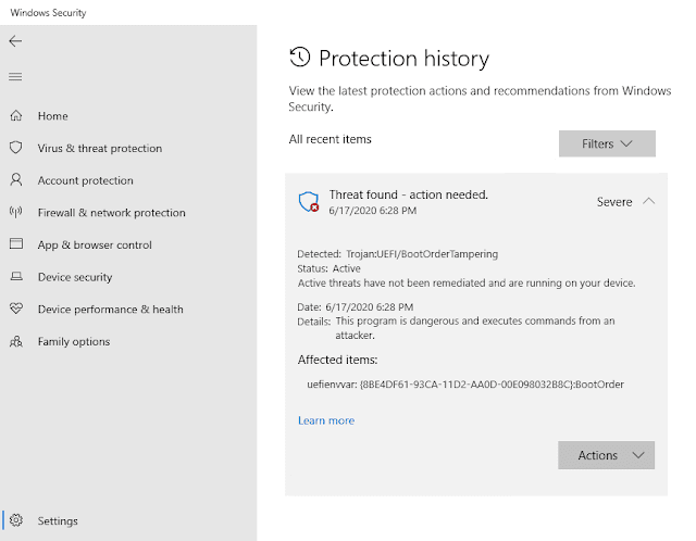 Sicurezza di Windows notifica rilevamento malware firmware