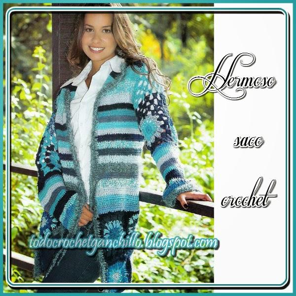 Casaca crochet con esquemas y moldes con medidas
