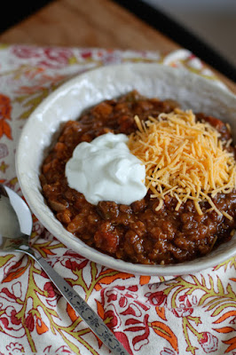 Slow Cooker Lentil And Quinoa Chili from Aggie's Kitchen featured on SlowCookerFromScratch.com