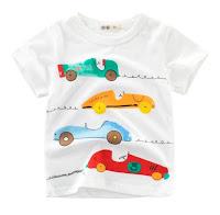 kaos warna putih untuk anak laki-laki gambar mobil