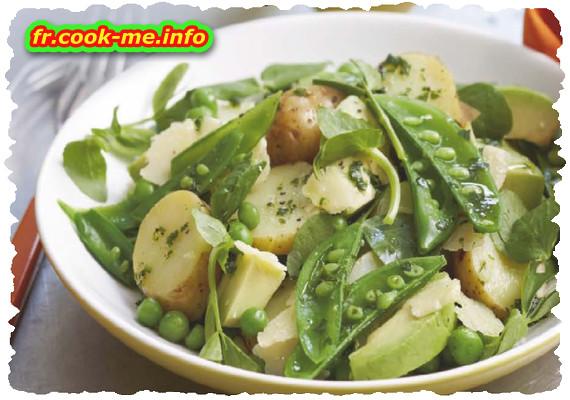Salade de pomme de terre aux herbes fraîches et petits pois