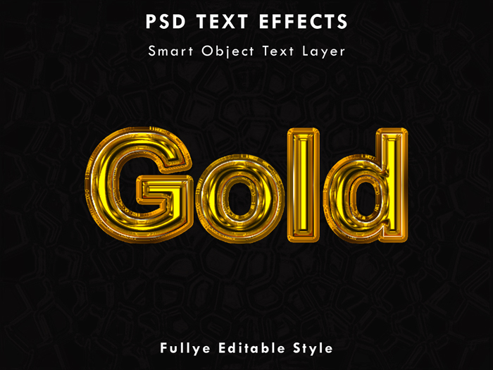 Gold Text Effect Vector Graphic Element PSD Mockup