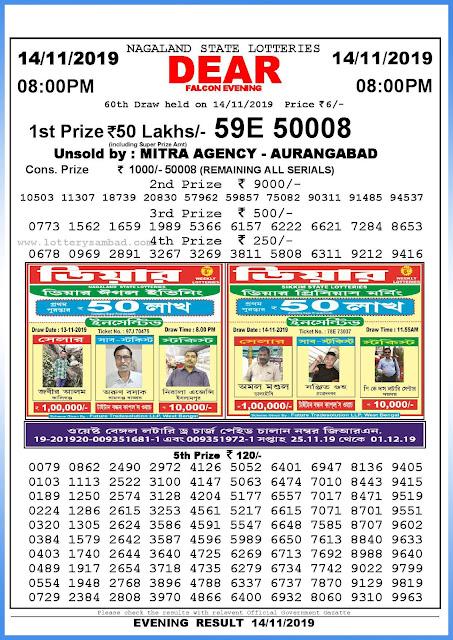 Lottery sambad 14-11-2019 Nagaland State Lottery Result 08.00 PM-sambadlottery.org