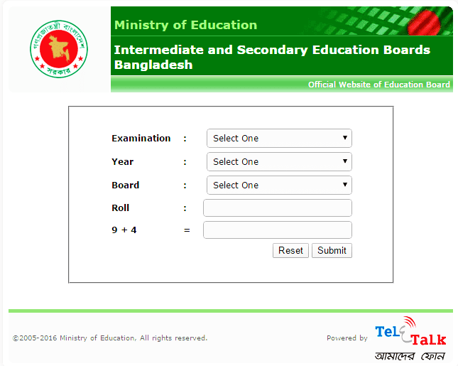Bangladesh SSC Result 2016 published with mark sheet
