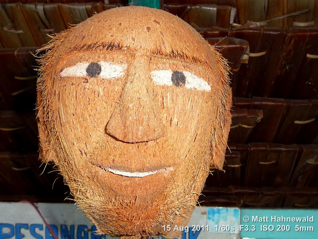 coconut art, hand-carved coconut head, Indonesia, Central Sulawesi, Tanjung Karang, Facing the World, © Matt Hahnewald