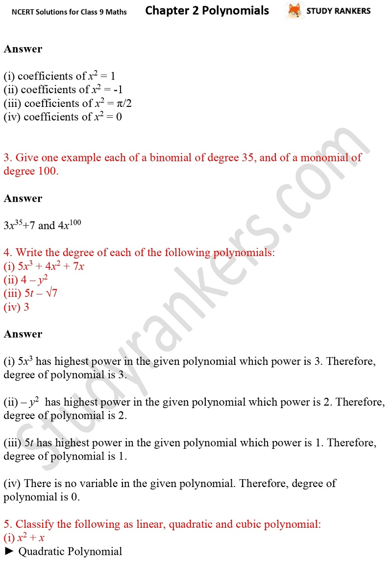 NCERT Solutions for Class 9 Maths Chapter 2 Polynomials Part 2