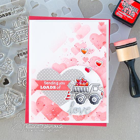 Loads of Love Truck Valentine Card by Tatiana Trafimovich | Love Quarry Stamp Set, Bokeh Hearts Stencil Set and Darling Hearts Die Set by Newton's Nook Designs #newtonsnook #handmade
