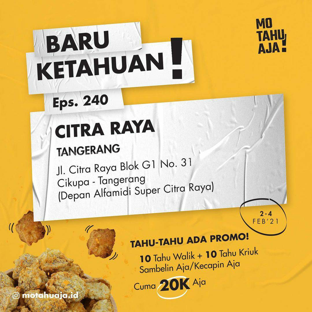 Mo Tahu Aja Citra Raya Tangerang Opening Promo Paket 20 Tahu cuma Rp 20.000
