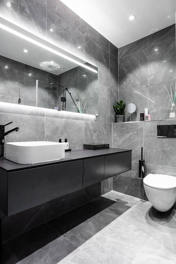 trendy grey bathroom interior design