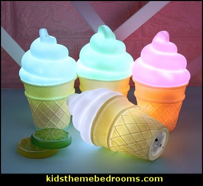 Ice Cream Cone Shaped Night Light Desk Table Lamp Kids Children Decor