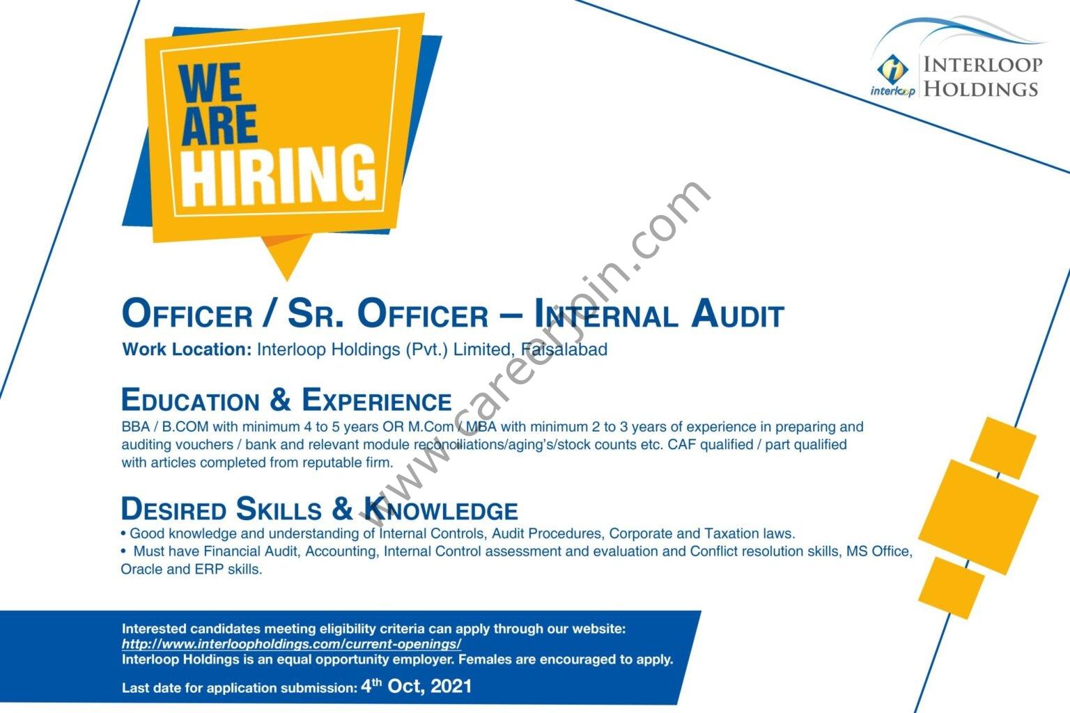 Interloop Holdings Jobs Officer / Senior Officer Internal Audit