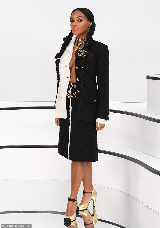 Janelle Monae goes braless in tweed ensemble at the Chanel Paris Fashion Week FW20 Show