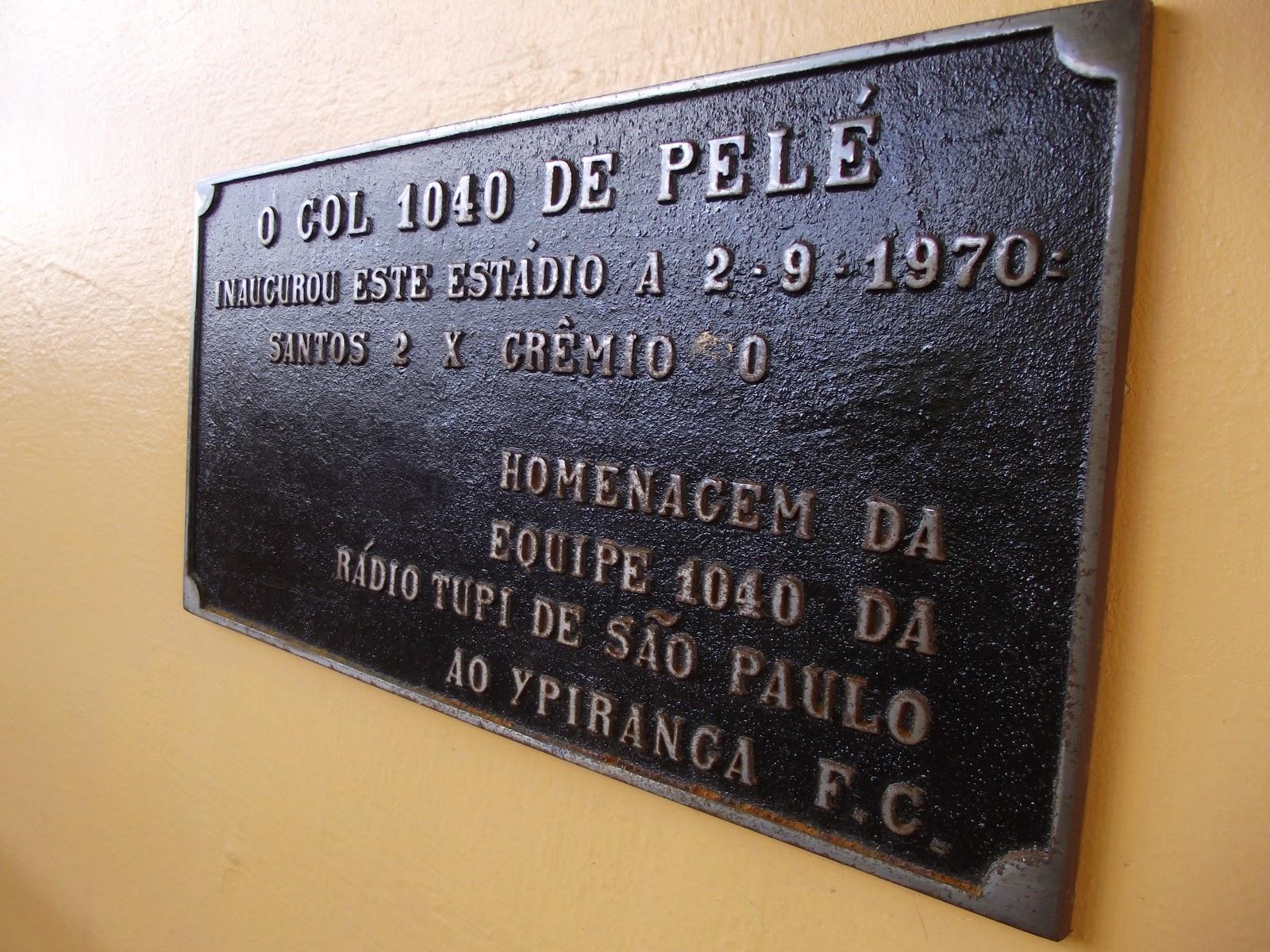 Resultado de imagem para placa de bronze gol 1040 Pelé