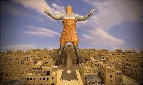 Depois de ver consolidado 0 seu reino, Nabucodonosor teve, certa noite, um impressionante sonho. Viu uma grande estátua que tinha a cabeça de ouro, o peito e os braços de prata, o ventre e as coxas de cobre, as pernas ide ferro, e os pés em parte de barro e em parte de ferro. O rei estava olhando quando um a pedra foi cortada, sem mãos, e feriu a estátua nos pés, reduzindo-a a pó, para o qual não se achou lugar. E a pedra, por sua vez, tornou se num grande monte que encheu toda a terra.