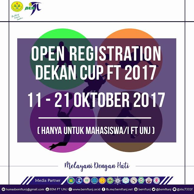 OPEN REGISTRASI DEKAN CUP FT 2017