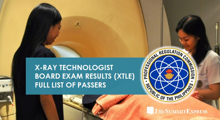 XTLE Passers: May 2021 X-Ray Technologist board exam results