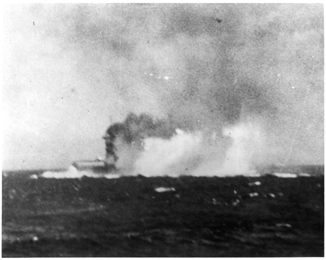 USS Lexington on fire and sinking, 8 May 1942 worldwartwo.filminspector.com