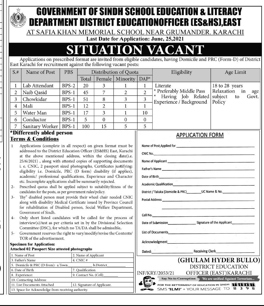School Education and Literacy Department Jobs 2021  250 Posts