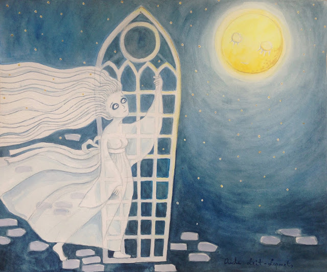 White Lady illustration art watercolor aquarelle haapsalu full moon stars night