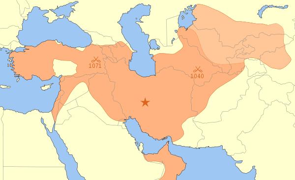 সেলজুক সাম্রাজ্যের মানচিত্র। মুহাম্মদ তপার