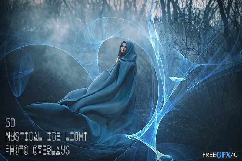 50 Photo Overlays Mystical Ice Light