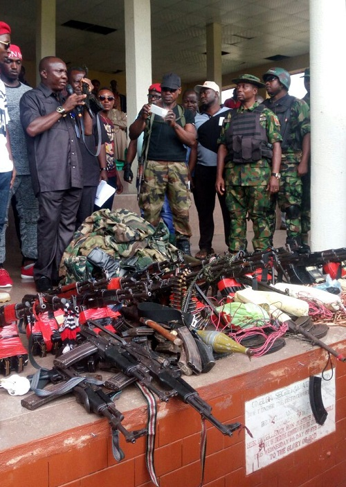 Niger Delta Militants Surrender Assorted Weapons In Rivers; You'll Be Shocked At Arsenal
