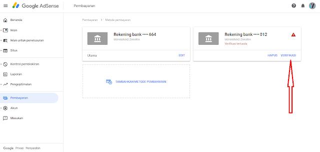 verifikasi rekening bank bca digoogle adsense