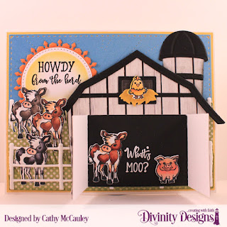 Hogs & Kisses, Stamp/Die Duos: Farm Friends, Paper Collection:  Boho Bolds, Custom Dies: Barn, Farm Fence, Grass Hill, Pierced Circles, Fancy Circles, Sunburst Background