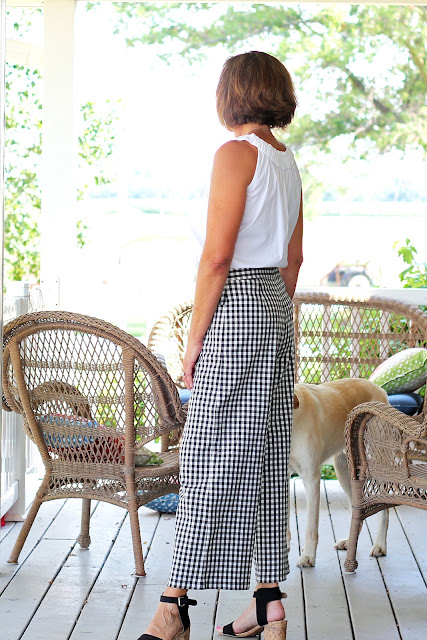 Mood Fabrics' gingham cotton stretch twill made into McCall's 7445 - side view